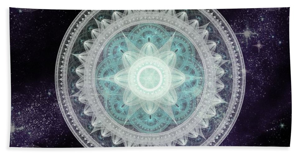 Corporate Beach Towel featuring the digital art Cosmic Medallions Water by Shawn Dall