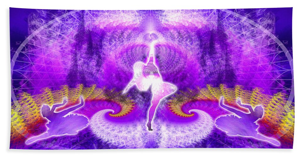Sacredlife Mandalas Beach Towel featuring the digital art Cosmic Spiral Ascension 27 by Derek Gedney