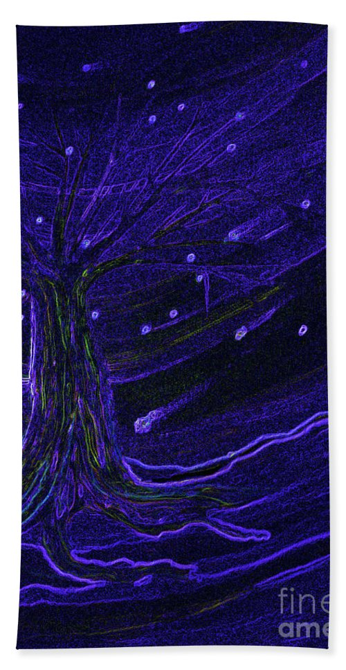First Star Beach Towel featuring the painting Cosmic Tree Blue by First Star Art