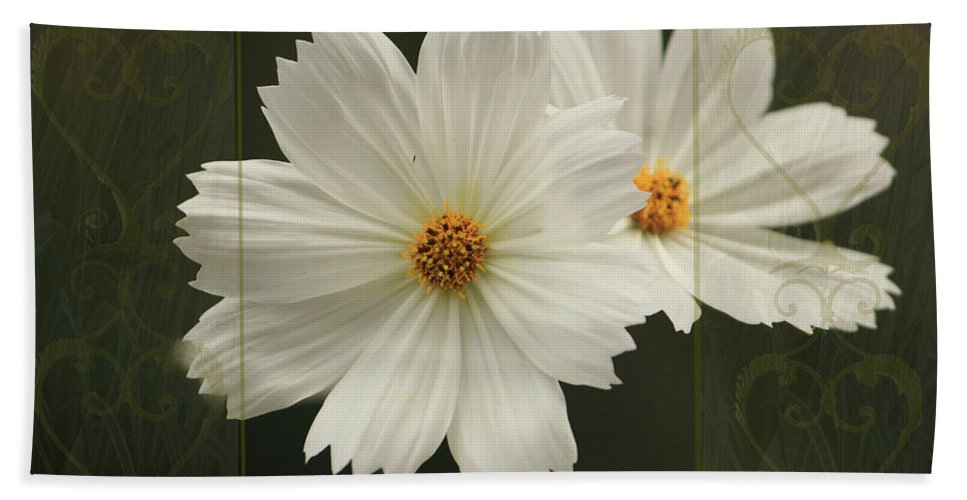 Cosmos Beach Towel featuring the photograph Cosmos And Hearts by Karen Beasley