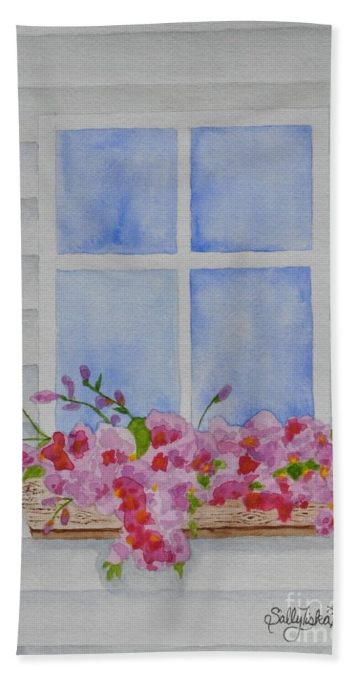 Cottage Window Beach Towel featuring the painting Cottage Window by Sally Rice