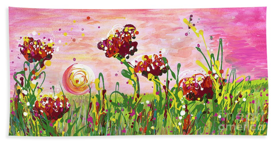 Poppies Beach Towel featuring the painting Cotton Candy Flowers by Nadine Rippelmeyer