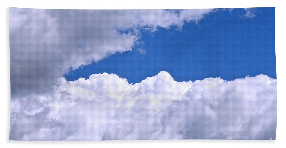Outdoors Beach Towel featuring the photograph Cotton Clouds by Susan Herber
