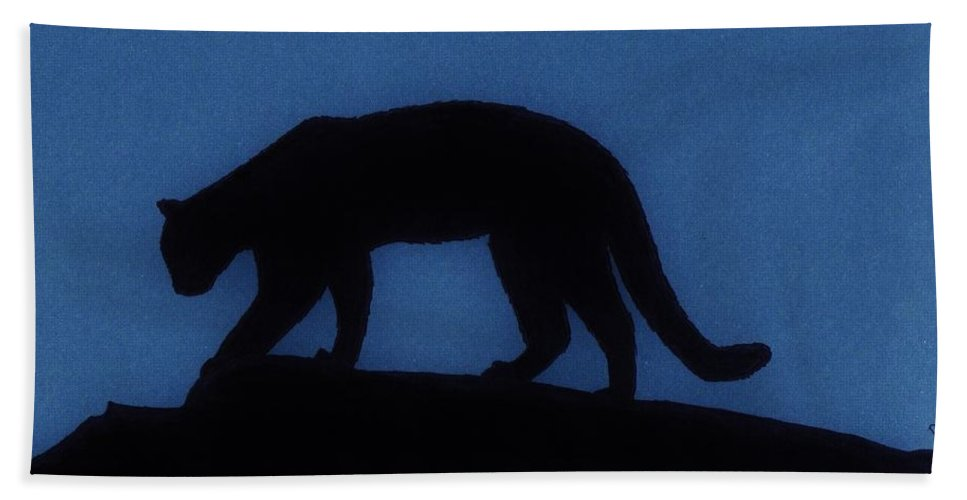 Cougar Beach Towel featuring the drawing Cougar - At - Night by D Hackett