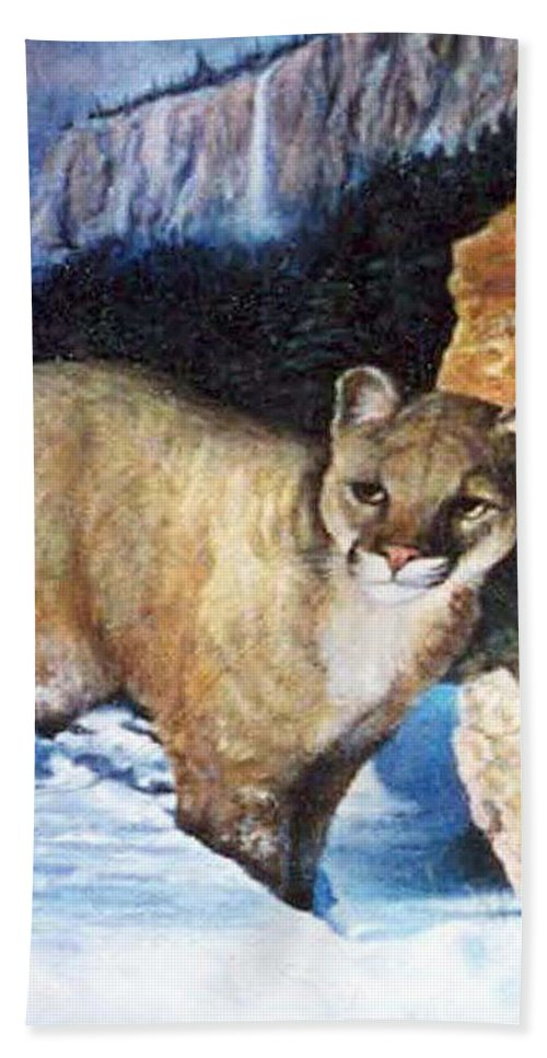 Cat Beach Towel featuring the painting Cougar In Snow by Donna Tucker