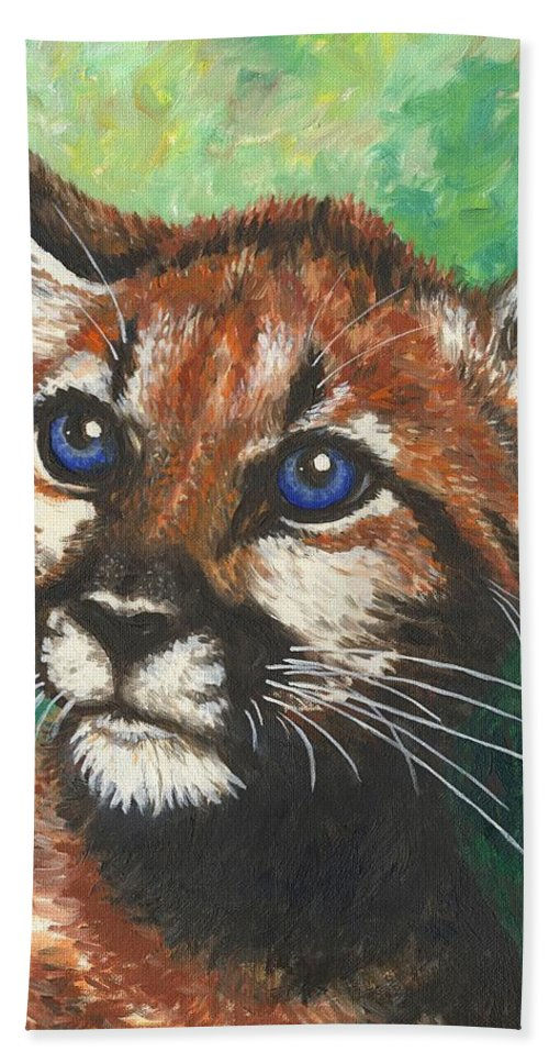 Big Cat Beach Towel featuring the painting Cougar Prince by Linda Mears