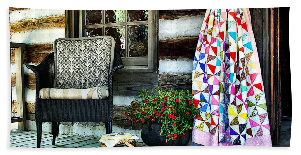 Quilt Beach Towel featuring the photograph Country Accents by Nadine Lewis