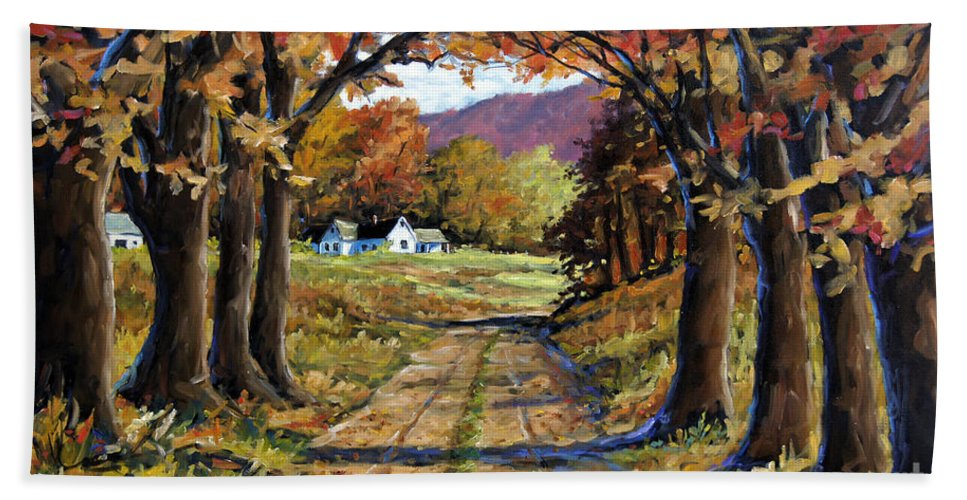Canadian Landscape Created By Richard T Pranke Beach Towel featuring the painting Country Livin by Richard T Pranke