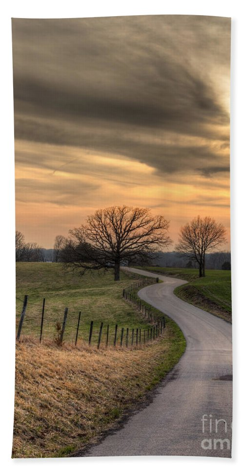 2014 Beach Towel featuring the photograph Country Road At Sunset by Larry Braun