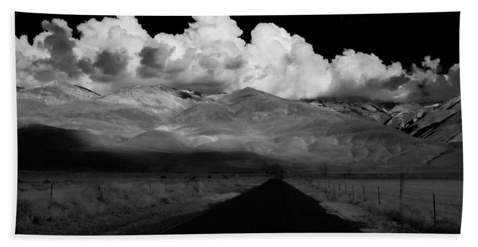 Clouds Beach Towel featuring the photograph Country Road by Cat Connor