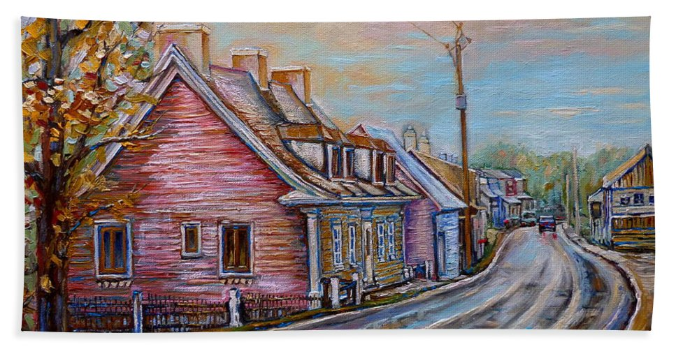 Ile D'orleans Beach Towel featuring the painting Country Road Pink House by Carole Spandau
