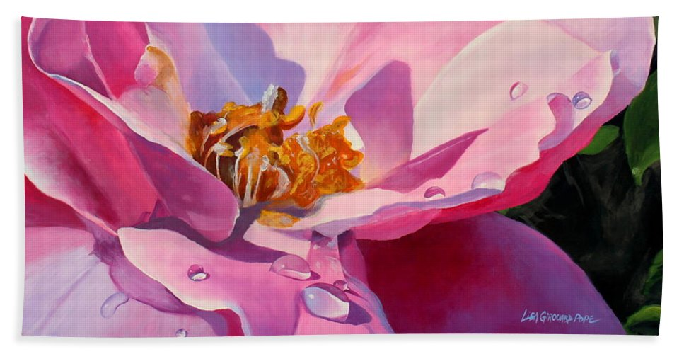 Flower Beach Towel featuring the painting Country Rose by Lisa Pope