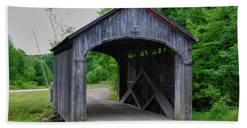 Covered Bridge Beach Towel featuring the photograph Country Store Bridge 5656 by Guy Whiteley