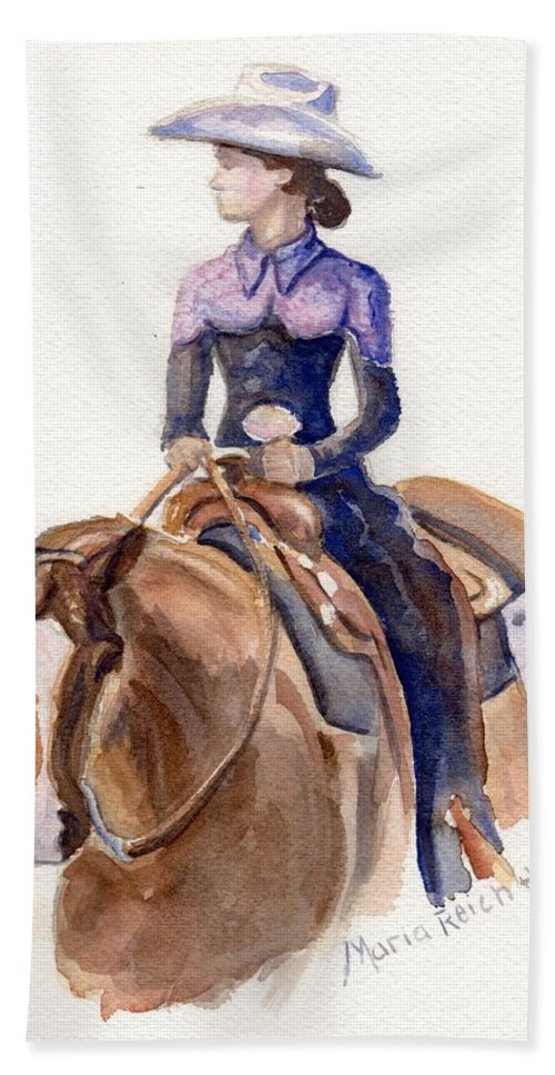 Horse Art Beach Towel featuring the painting Horse Painting Cowgirl Courage by Maria's Watercolor