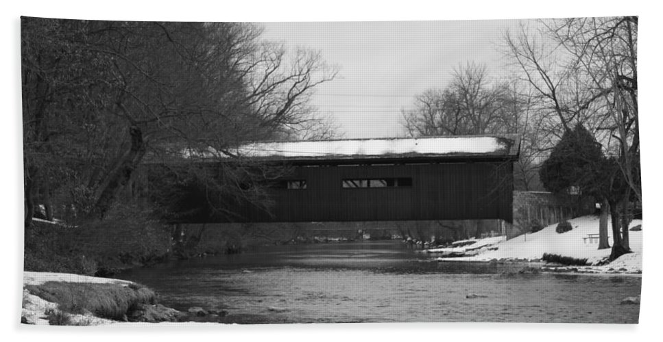 Winter Beach Towel featuring the photograph Covered Bridge In Winter by Rob Luzier