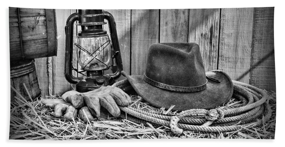 67659d8cd477b Barn Beach Towel featuring the photograph Cowboy Hat And Rodeo Lasso In A  Black And White