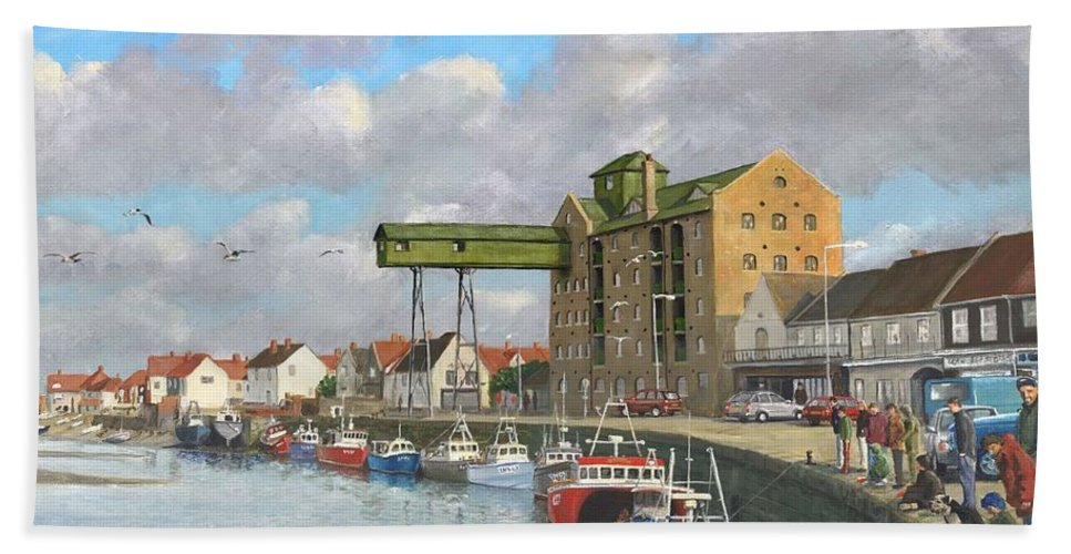 Landscape Beach Towel featuring the painting Crabbing - Wells-next-the-sea Norfolk by Richard Harpum