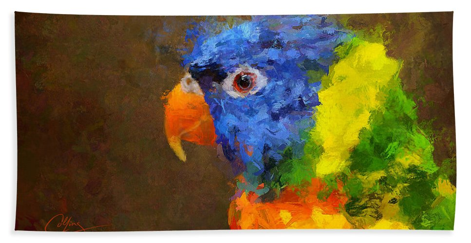 Parrot Beach Towel featuring the painting Crackers by Greg Collins