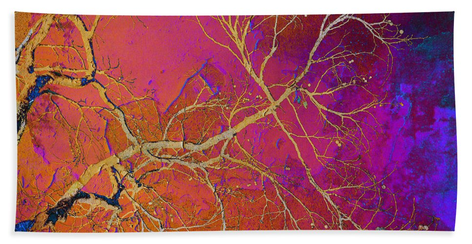 Abstract Beach Towel featuring the photograph Crackling Branches by Meghan at FireBonnet Art