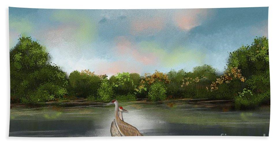 Landscape Beach Towel featuring the painting Crane Habitat by Nancy Long