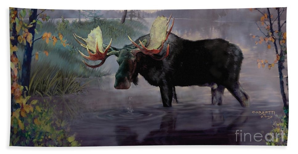 Moose Paintings Beach Towel featuring the painting Craven Moose by Rob Corsetti