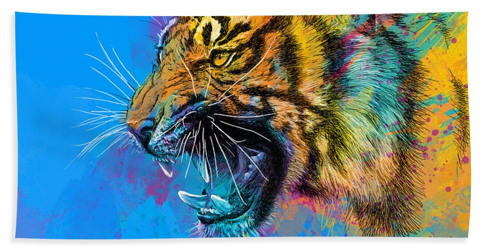 Tiger Beach Towel featuring the digital art Crazy Tiger by Olga Shvartsur