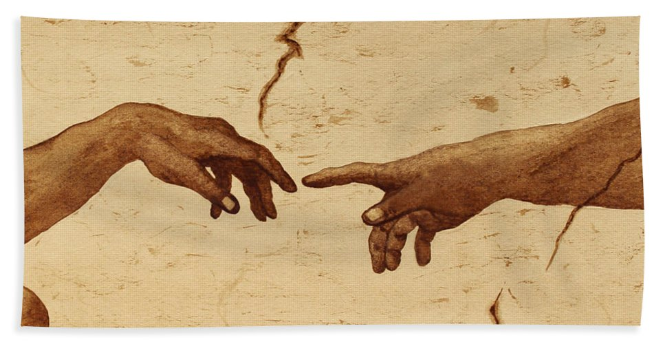 Creation Of Adam Beach Towel featuring the painting Creation Of Adam Hands A Study Coffee Painting by Georgeta Blanaru