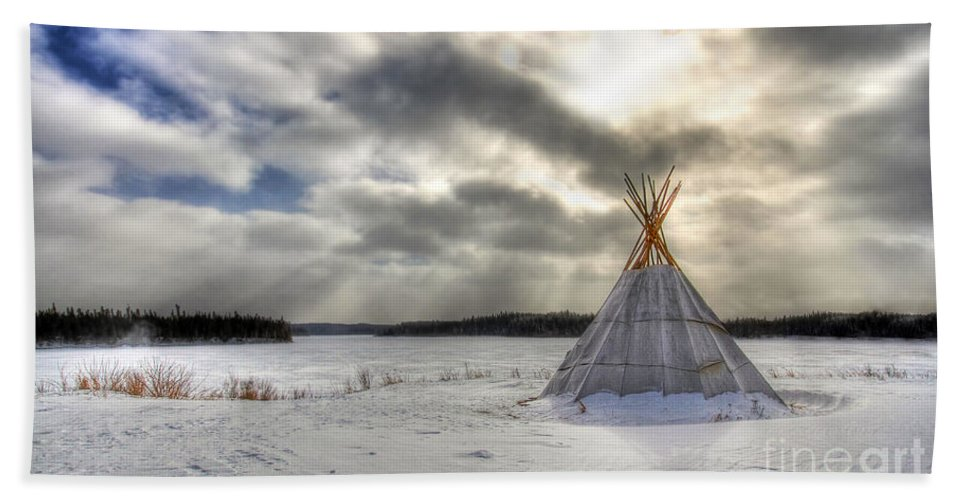 Cree Beach Towel featuring the photograph Cree Tepee by Mircea Costina Photography
