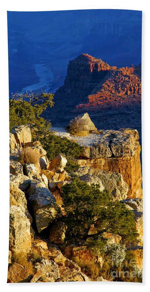 Grand Canyon National Park Arizona Parks South Rim Canyons Rock Formations Rock Formation Sunrise Sunrises Landscape Landscapes Beach Towel featuring the photograph Creeping Morning Canyon Light by Bob Phillips