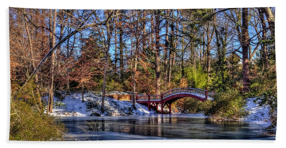 Crim Dell Beach Towel featuring the photograph Crim Dell In Winter William And Mary by Jerry Gammon