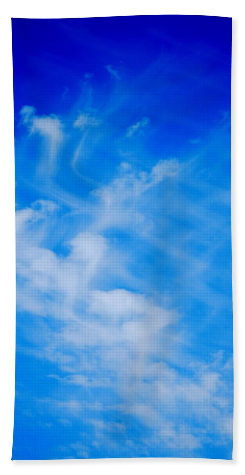 Blue Beach Towel featuring the photograph Cris Cross Clouds IIi by Kathy Sampson