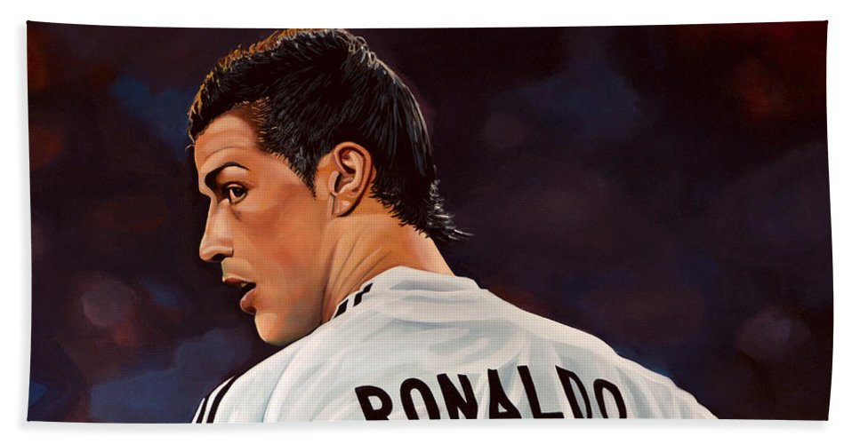 Real Madrid Beach Towel featuring the painting Cristiano Ronaldo by Paul Meijering