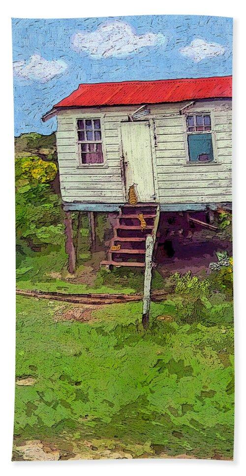 Rebecca Korpita Beach Towel featuring the photograph Crooked Little House - Orange Cats by Rebecca Korpita