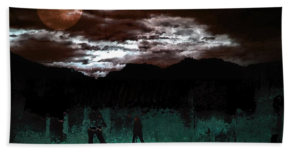 Abstract Beach Towel featuring the mixed media Crossing Moon by Terence Morrissey