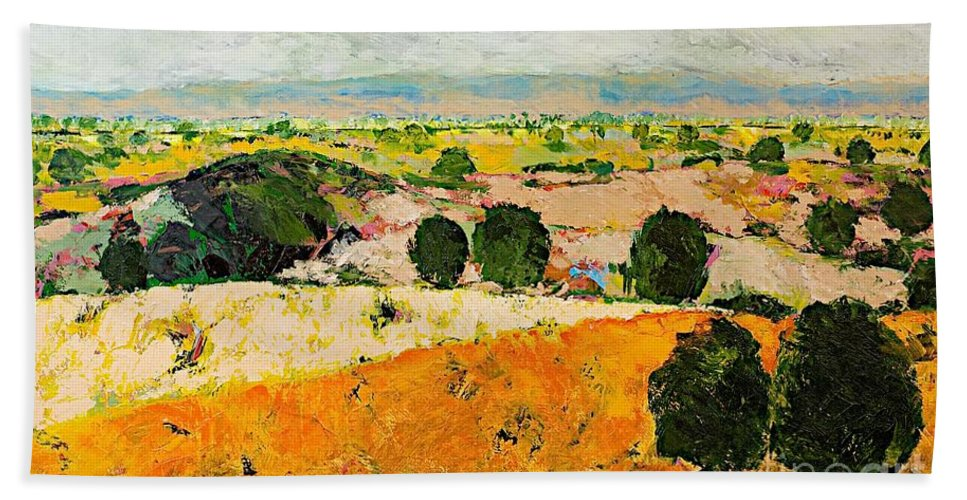 Landscape Beach Towel featuring the painting Crossing Paradise by Allan P Friedlander