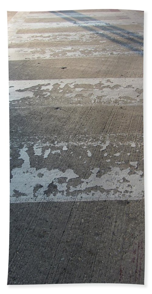 Concrete Beach Towel featuring the photograph Crosswalk Shadow 1 by Anita Burgermeister