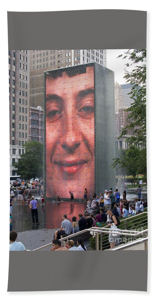 Chicago Beach Towel featuring the photograph Crowd Watching by Ann Horn