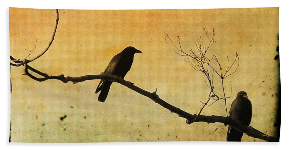 Two Crows Beach Towel featuring the photograph Crowded Branch by Gothicrow Images