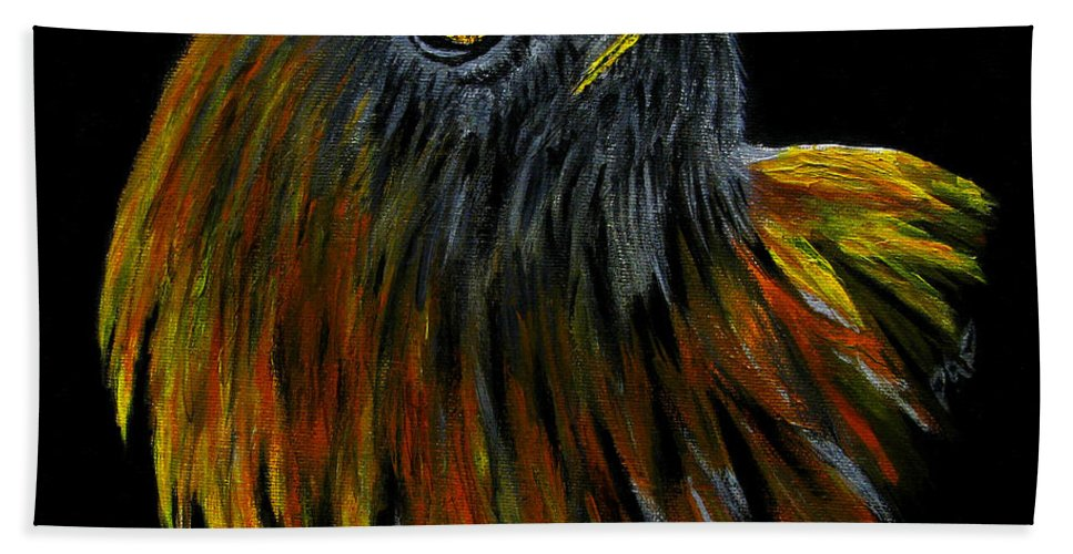 Bird Of Pray Beach Towel featuring the painting Crowhawk Original by Peter Piatt