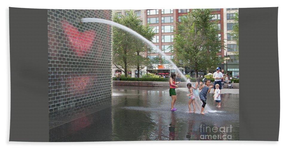 Chicago Beach Towel featuring the photograph Crown Fountain Play by Ann Horn
