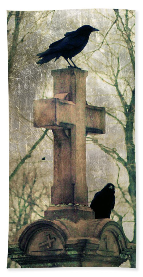 Birds Beach Towel featuring the photograph Urban Graveyard Crows by Gothicrow Images