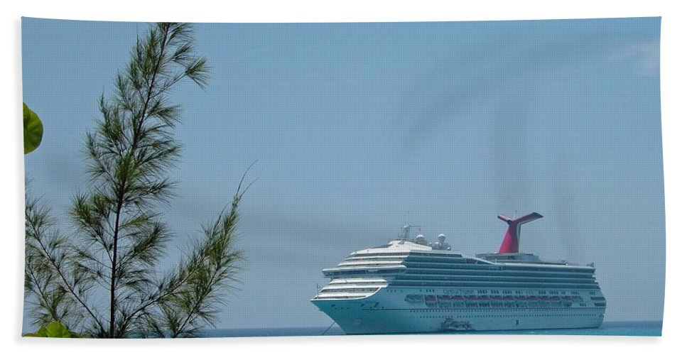 Carnival Beach Towel featuring the photograph Cruise Ship At Half Moon Caye by Gary Wonning