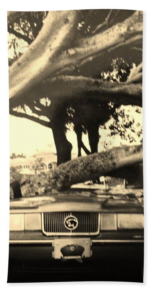 Cars Beach Towel featuring the photograph Crushed Merc by Rob Hans