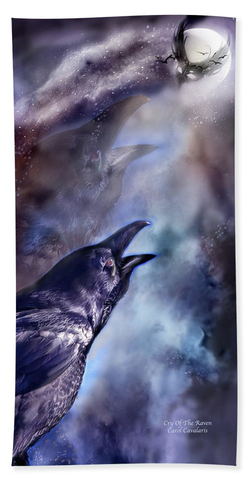 Raven Beach Towel featuring the mixed media Cry Of The Raven by Carol Cavalaris