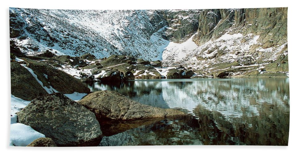 Landscape Beach Towel featuring the photograph Crystal Lake by Eric Glaser