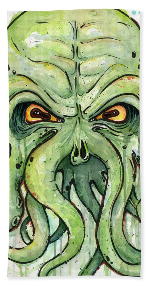Cthulu Beach Towel featuring the painting Cthulhu Watercolor by Olga Shvartsur