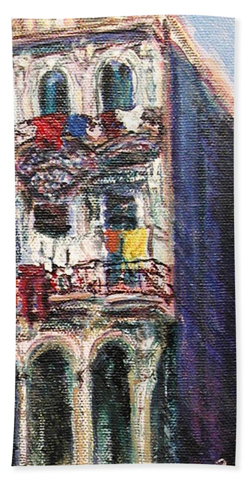 Cities Beach Towel featuring the painting Cuba Edificios by Quin Sweetman