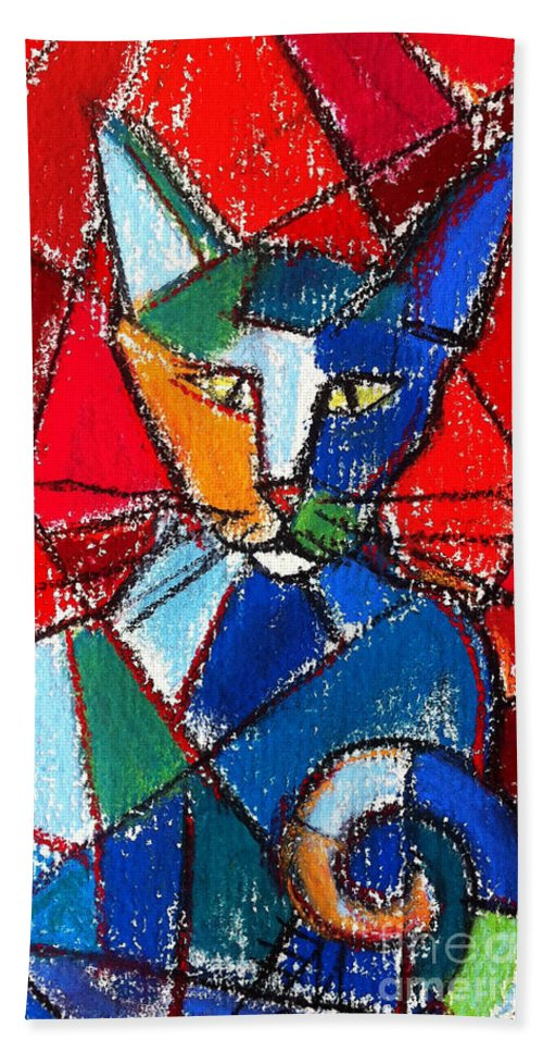 Cat Beach Towel featuring the painting Cubist Colorful Cat by Mona Edulesco