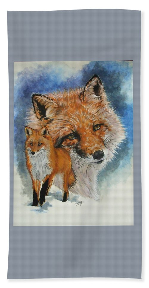 Fox Beach Towel featuring the mixed media Cunning by Barbara Keith