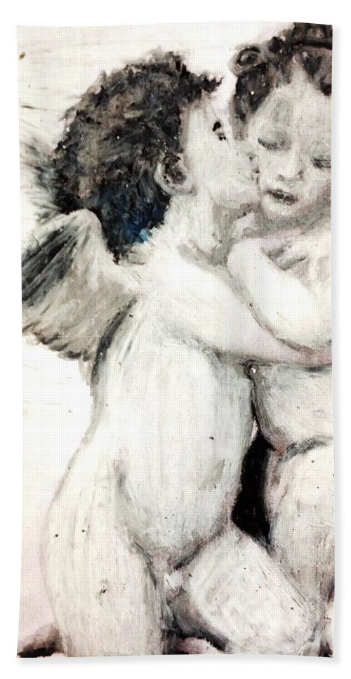 William Bouguereau Beach Towel featuring the pastel Cupid And Psyche By William Bouguereau by Maria Leah Comillas